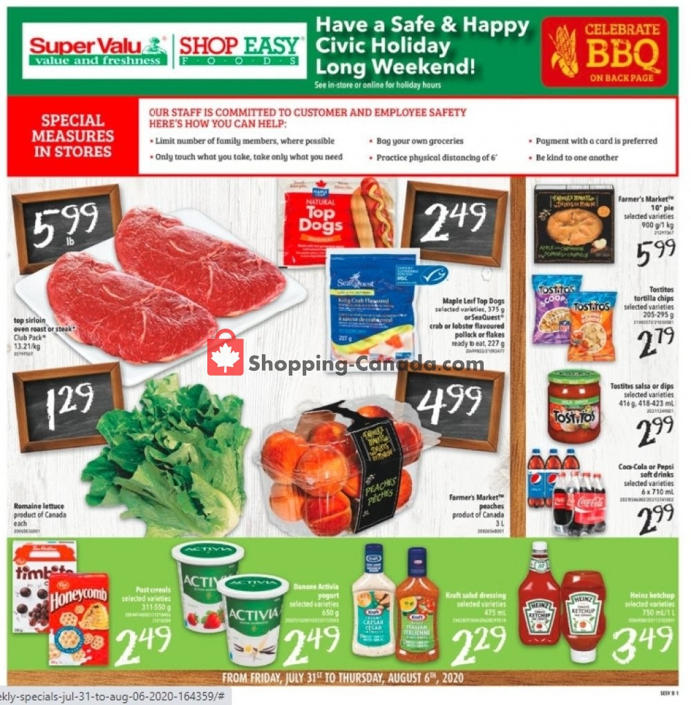 Flyer Shop Easy Foods & SuperValu Canada - from Friday July 31, 2020 to Thursday August 6, 2020