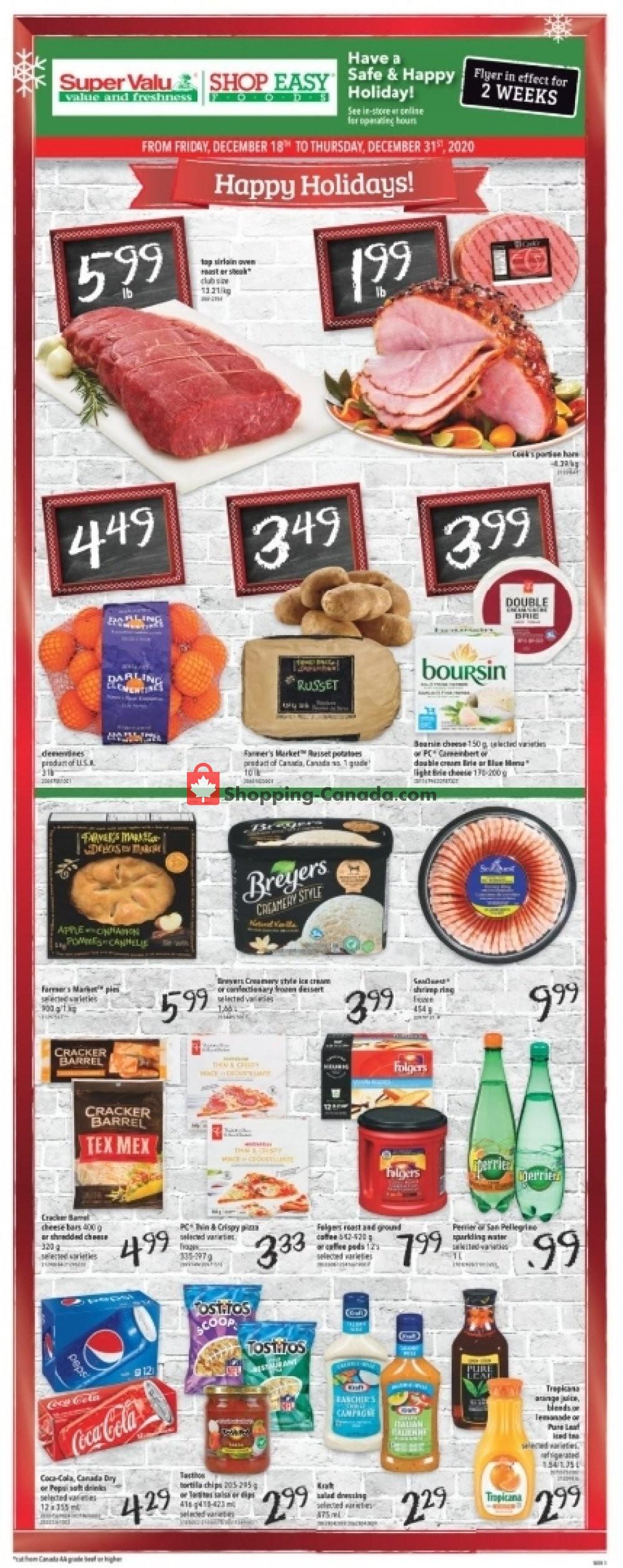Flyer Shop Easy Foods & SuperValu Canada - from Friday December 18, 2020 to Thursday December 31, 2020
