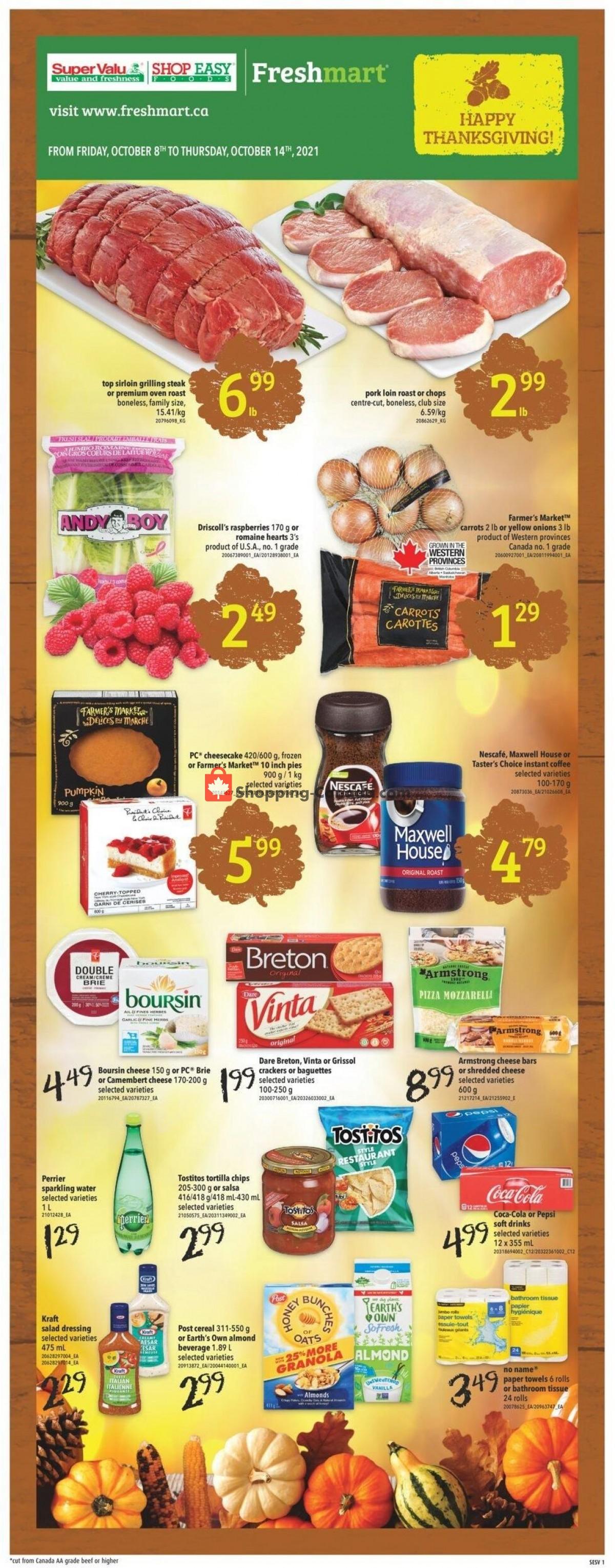 Flyer Shop Easy Foods & SuperValu Canada - from Friday October 8, 2021 to Thursday October 14, 2021