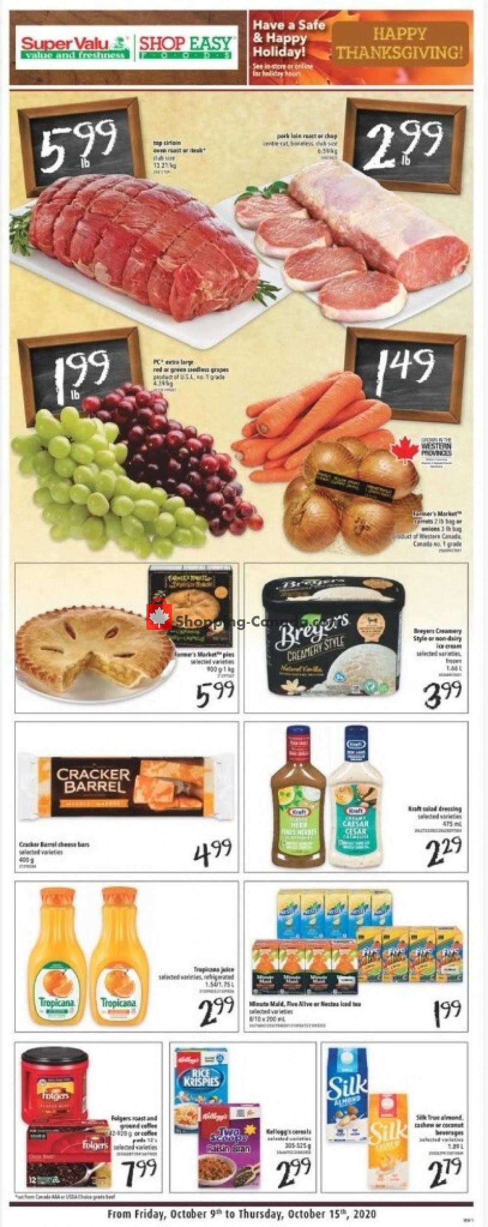 Flyer Shop Easy Foods & SuperValu Canada - from Friday October 9, 2020 to Thursday October 15, 2020