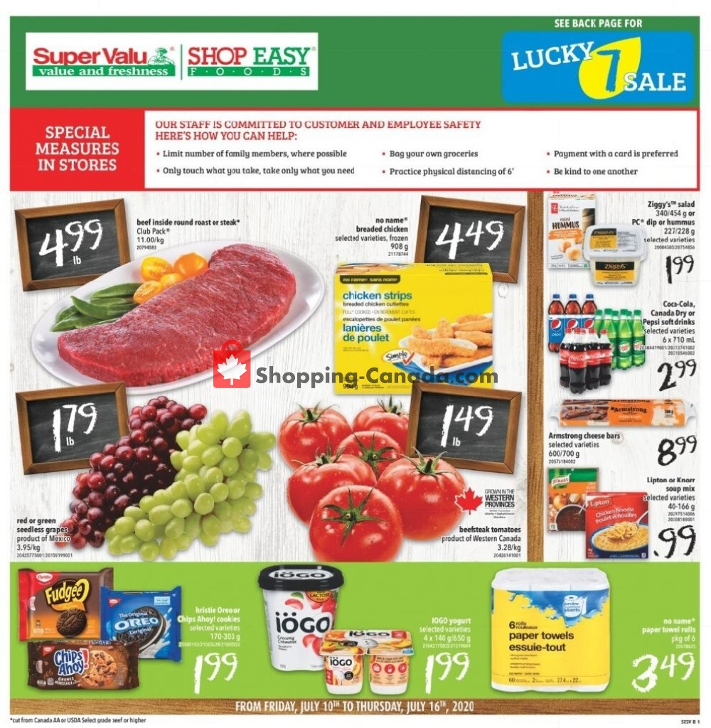 Flyer Shop Easy Foods & SuperValu Canada - from Friday July 10, 2020 to Thursday July 16, 2020