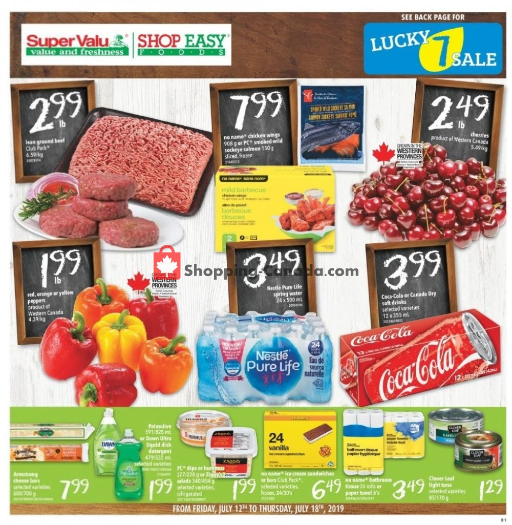 Flyer Shop Easy Foods & SuperValu Canada - from Friday July 12, 2019 to Thursday July 18, 2019