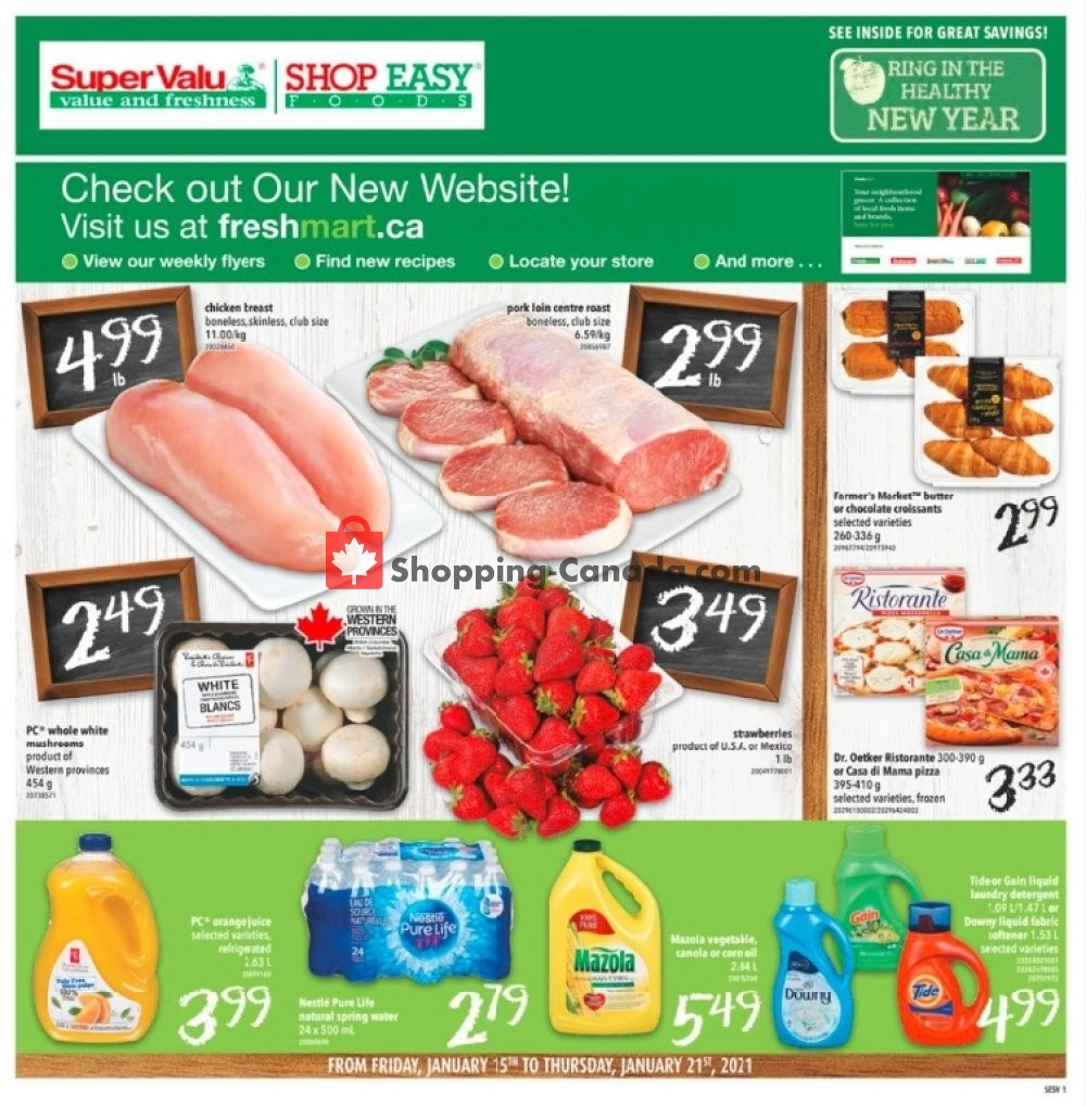 Flyer Shop Easy Foods & SuperValu Canada - from Friday January 15, 2021 to Thursday January 21, 2021