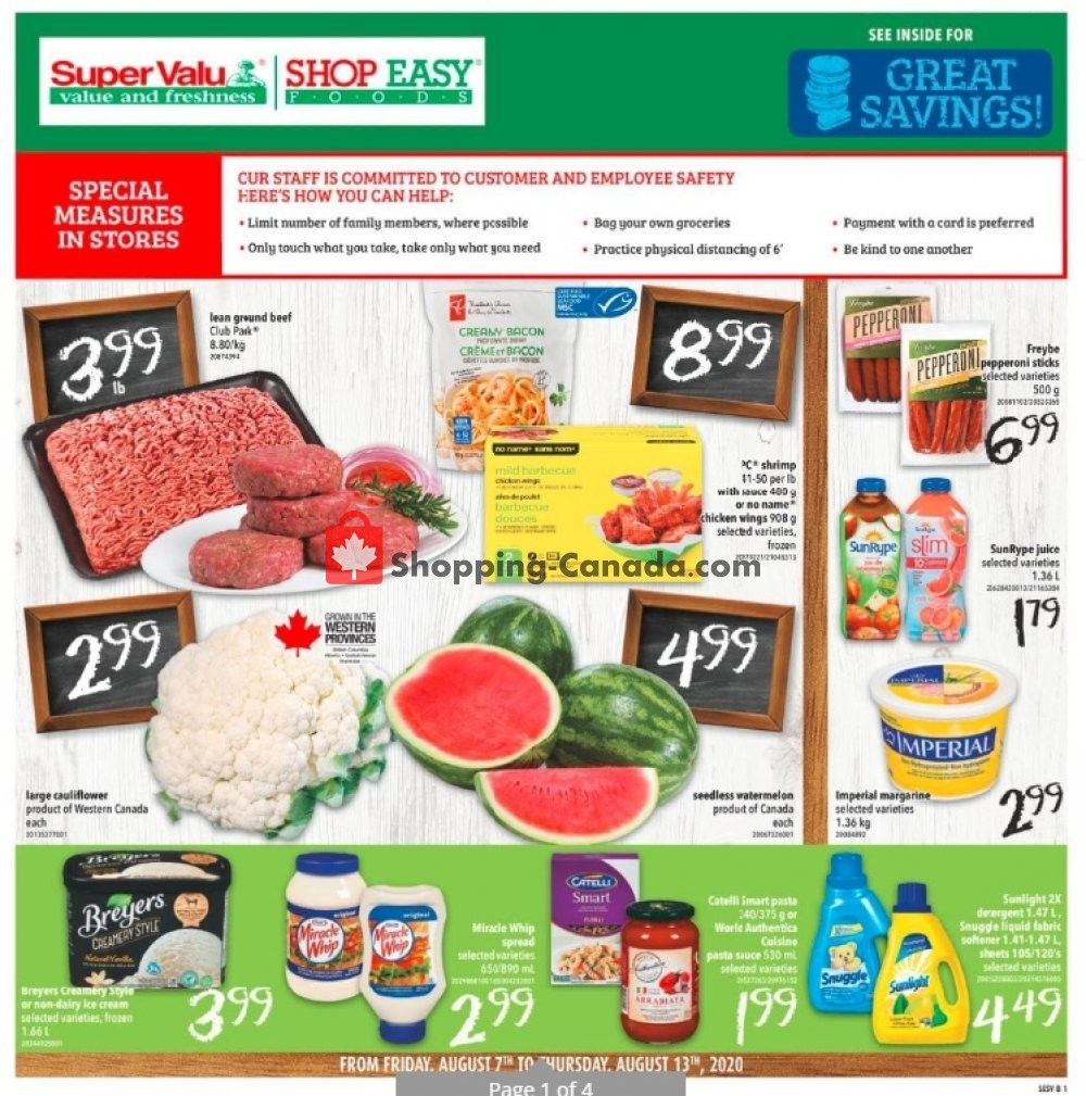 Flyer Shop Easy Foods & SuperValu Canada - from Friday August 7, 2020 to Thursday August 13, 2020