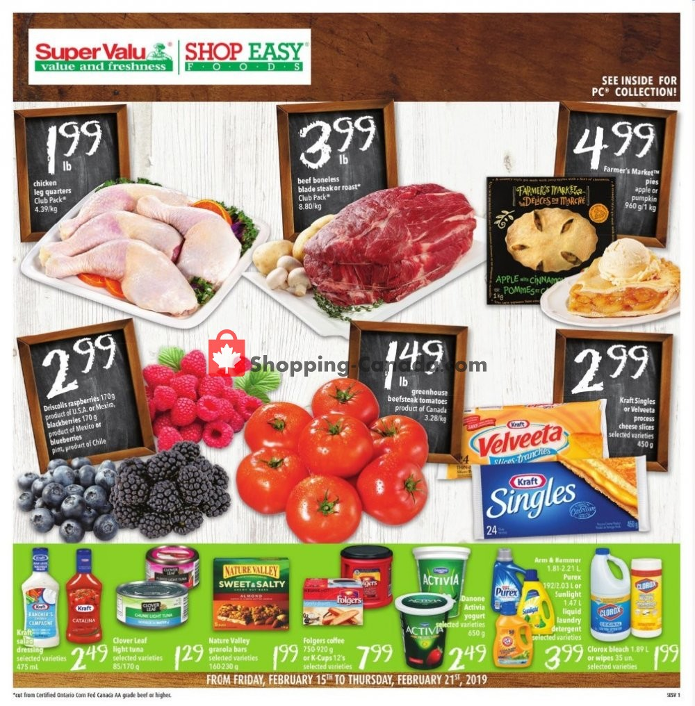 Flyer Shop Easy Foods & SuperValu Canada - from Friday February 15, 2019 to Thursday February 21, 2019