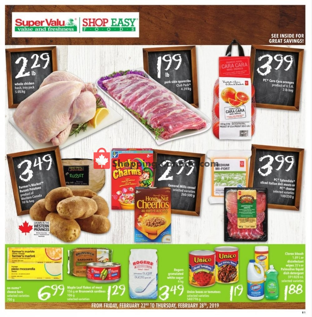 Flyer Shop Easy Foods & SuperValu Canada - from Friday February 22, 2019 to Thursday February 28, 2019