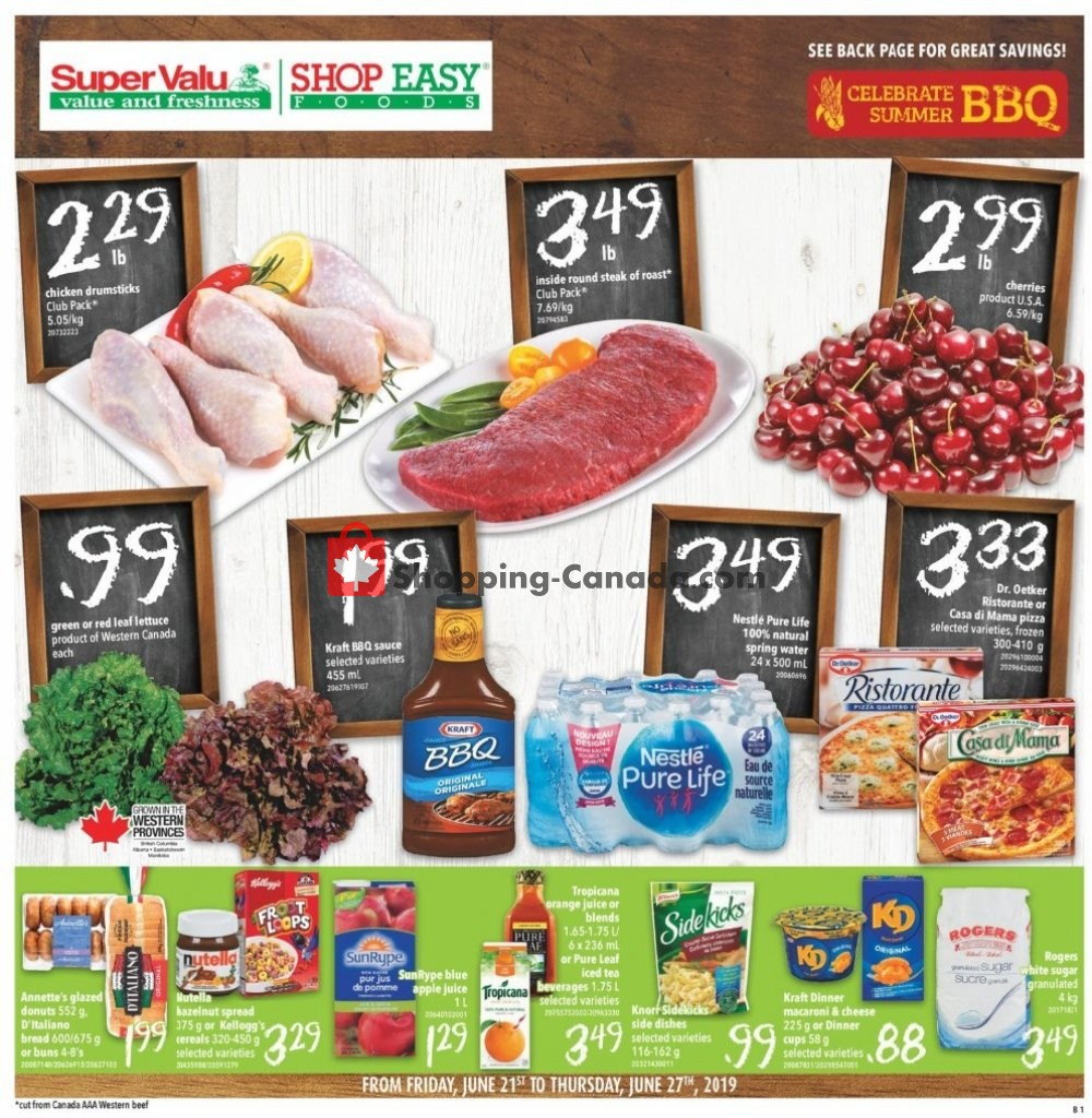 Flyer Shop Easy Foods & SuperValu Canada - from Friday June 21, 2019 to Thursday June 27, 2019