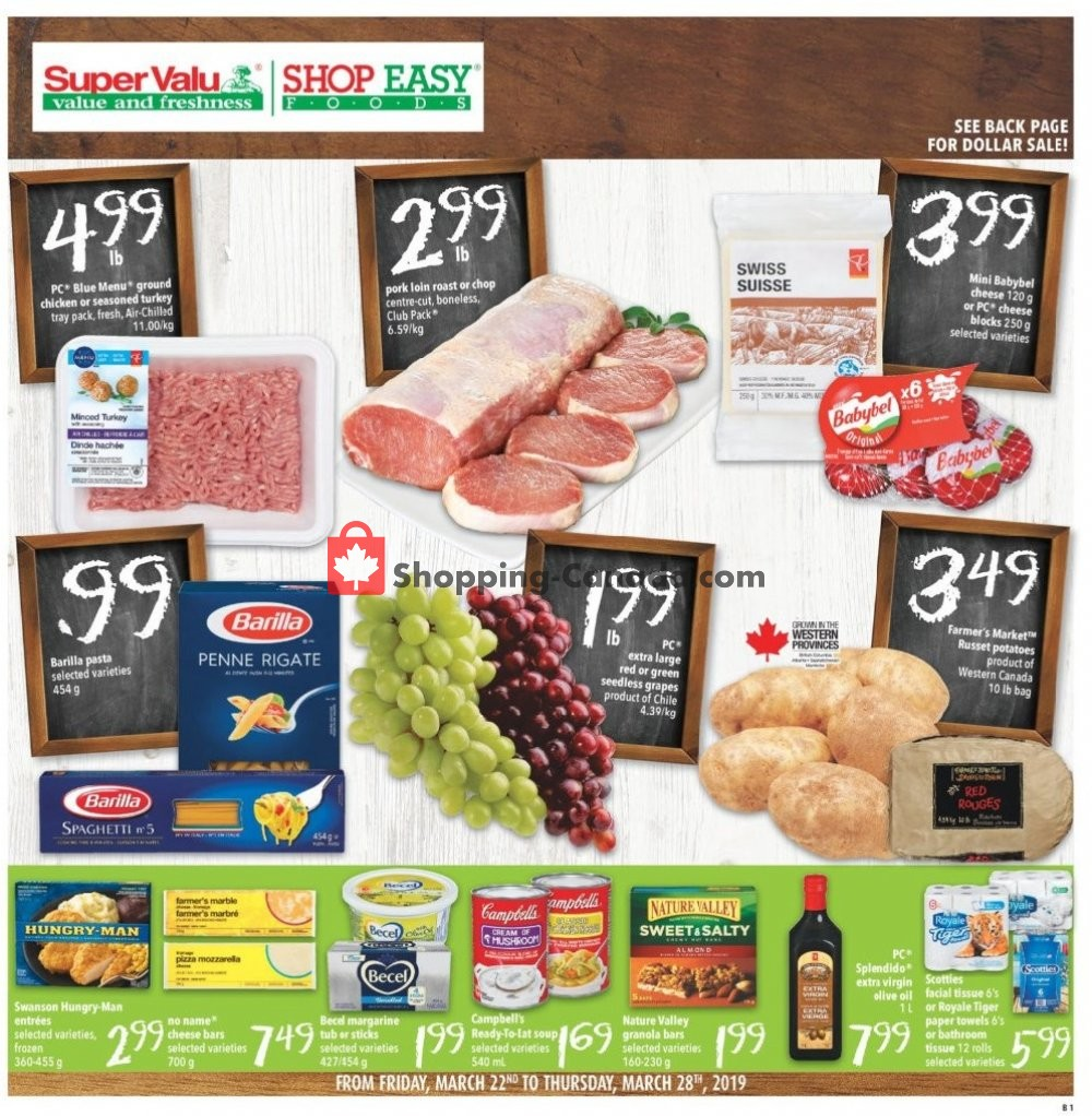 Flyer Shop Easy Foods & SuperValu Canada - from Friday March 22, 2019 to Thursday March 28, 2019
