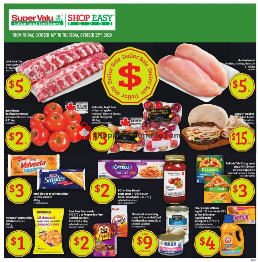 Flyer Shop Easy Foods & SuperValu Canada - from Friday October 16, 2020 to Thursday October 22, 2020