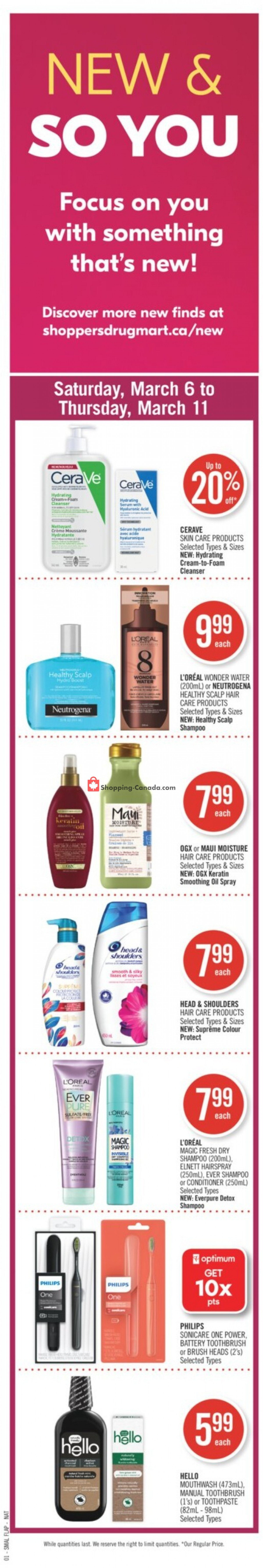 Flyer Shoppers Drug Mart Canada - from Saturday March 6, 2021 to Thursday March 11, 2021