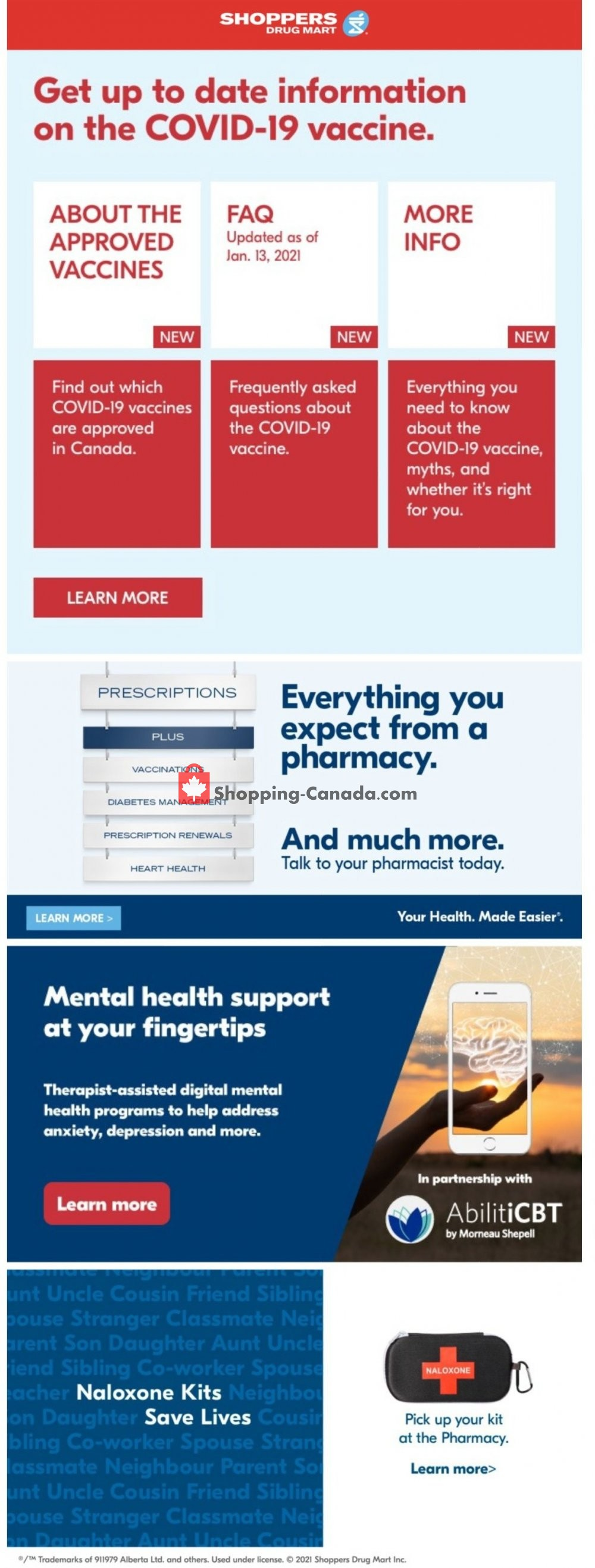 Flyer Shoppers Drug Mart Canada - from Saturday January 23, 2021 to Thursday January 28, 2021