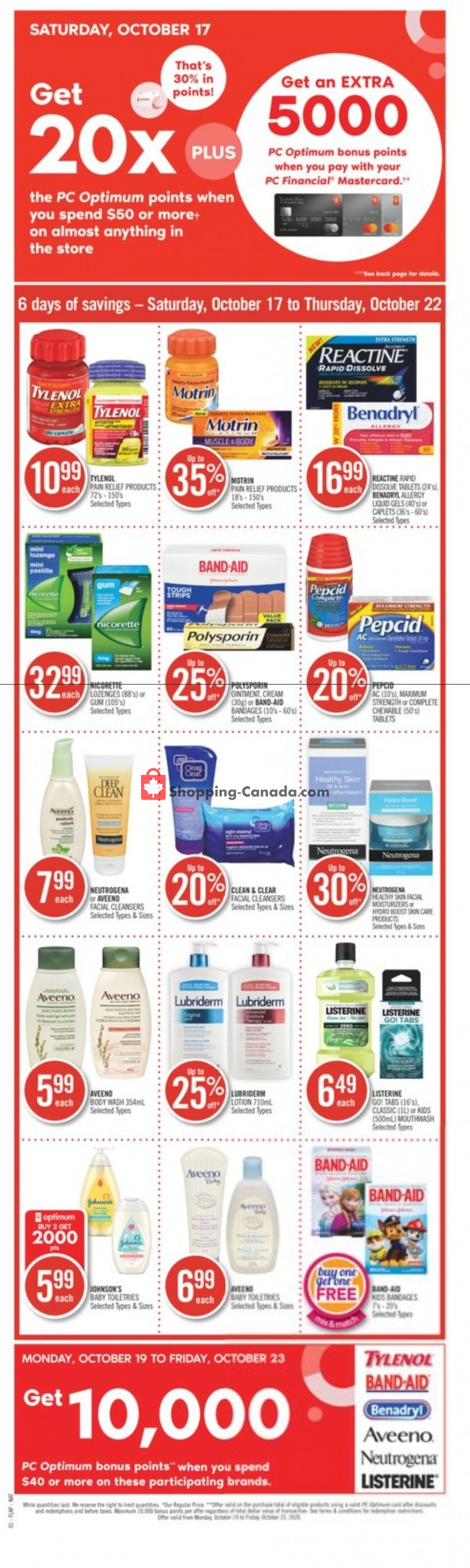 Flyer Shoppers Drug Mart Canada - from Saturday October 17, 2020 to Thursday October 22, 2020