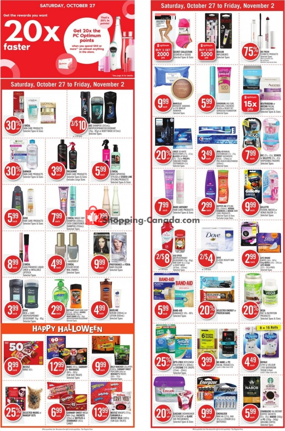 Flyer Shoppers Drug Mart Canada - from Saturday October 27, 2018 to Friday November 2, 2018