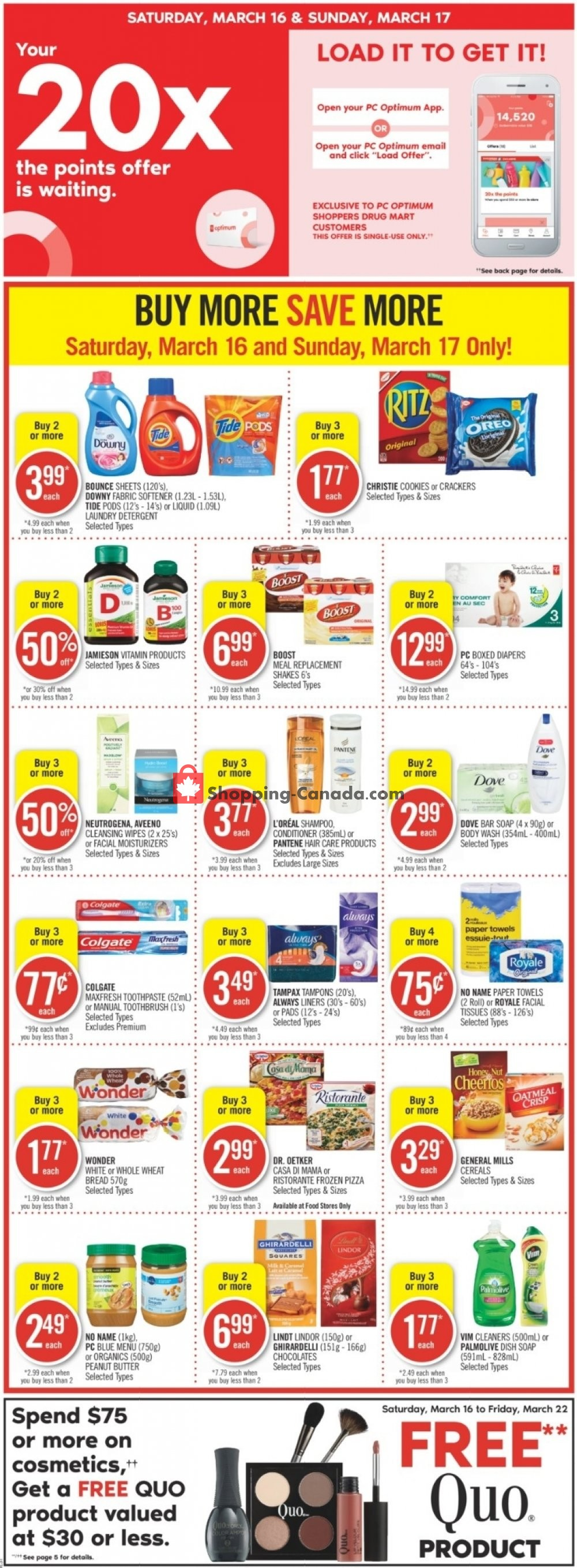 Flyer Shoppers Drug Mart Canada - from Saturday March 16, 2019 to Friday March 22, 2019