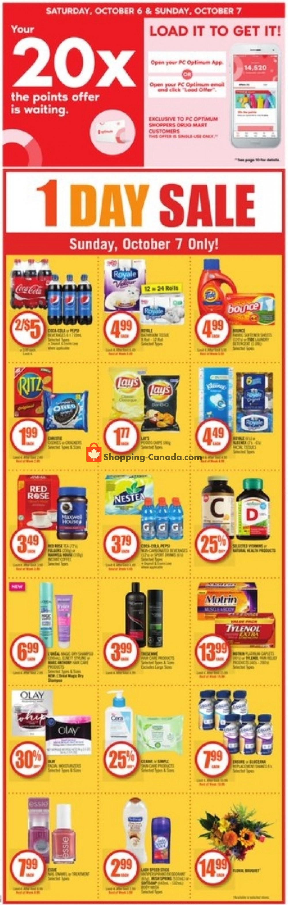 Flyer Shoppers Drug Mart Canada - from Saturday October 6, 2018 to Friday October 12, 2018