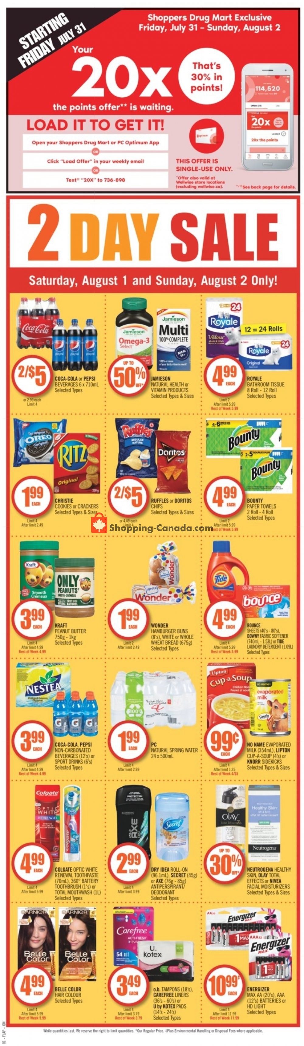 Flyer Shoppers Drug Mart Canada - from Saturday August 1, 2020 to Friday August 7, 2020