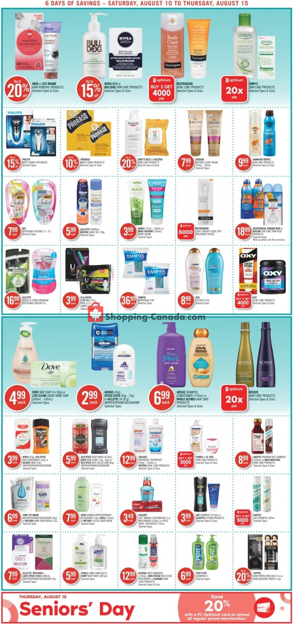 Flyer Shoppers Drug Mart Canada - from Saturday August 10, 2019 to Thursday August 15, 2019