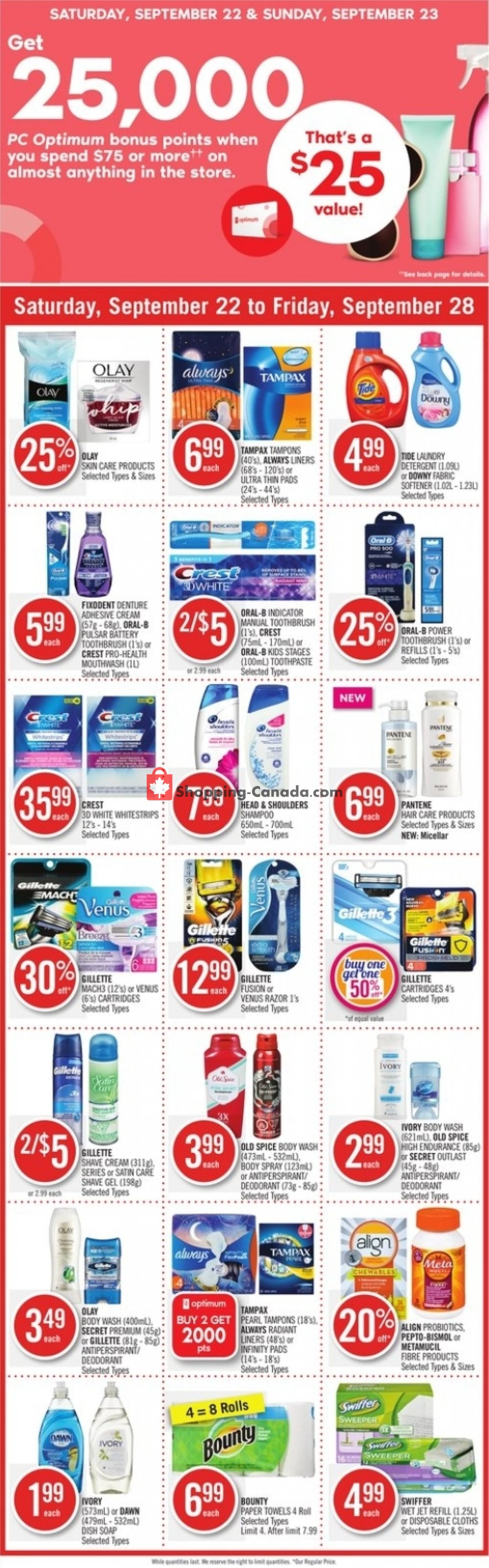 Flyer Shoppers Drug Mart Canada - from Saturday September 22, 2018 to Friday September 28, 2018