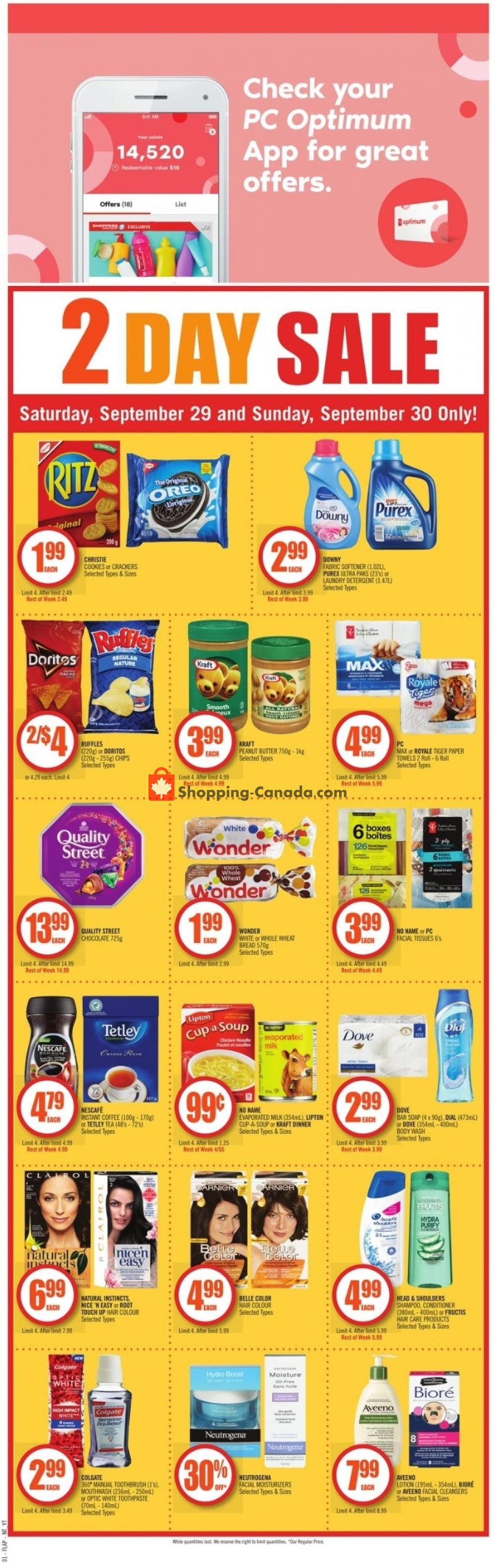 Flyer Shoppers Drug Mart Canada - from Saturday September 29, 2018 to Thursday October 4, 2018