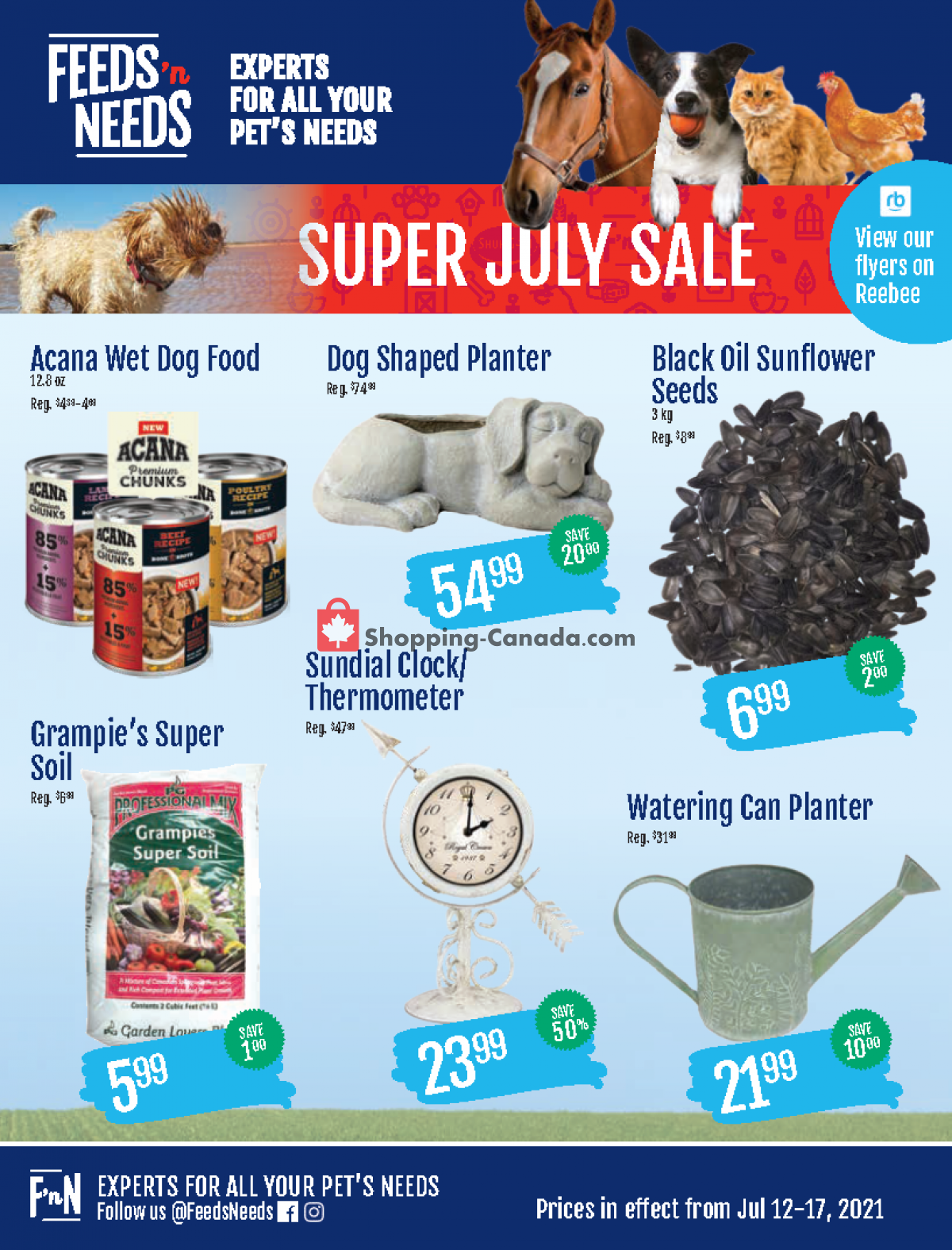 Flyer ShurGain Feeds'n Needs Canada - from Monday July 12, 2021 to Saturday July 17, 2021