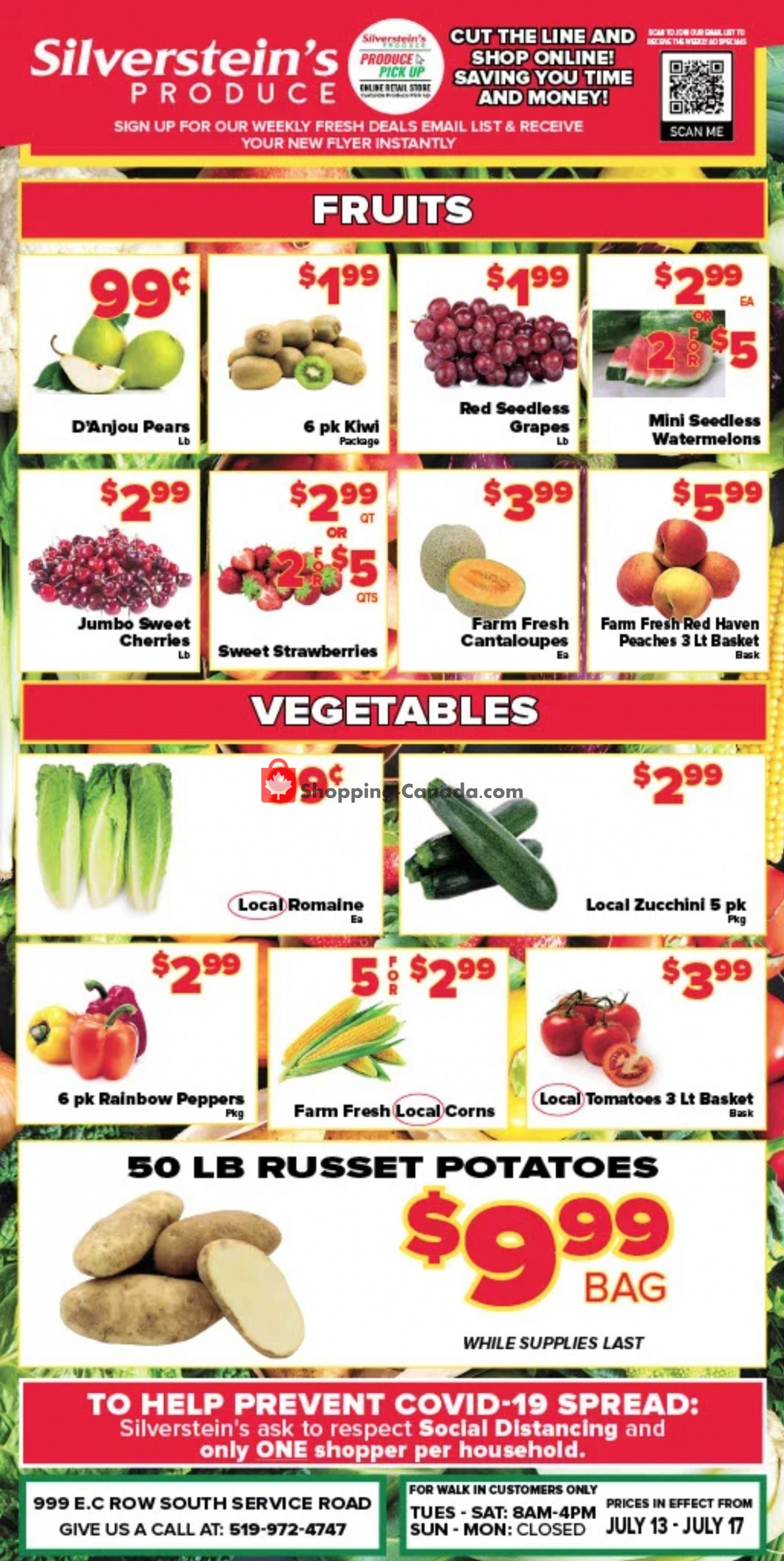 Flyer Silverstein's Produce Canada - from Tuesday July 13, 2021 to Saturday July 17, 2021