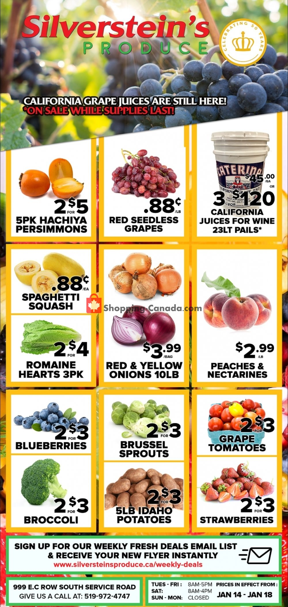 Flyer Silverstein's Produce Canada - from Tuesday January 14, 2020 to Saturday January 18, 2020