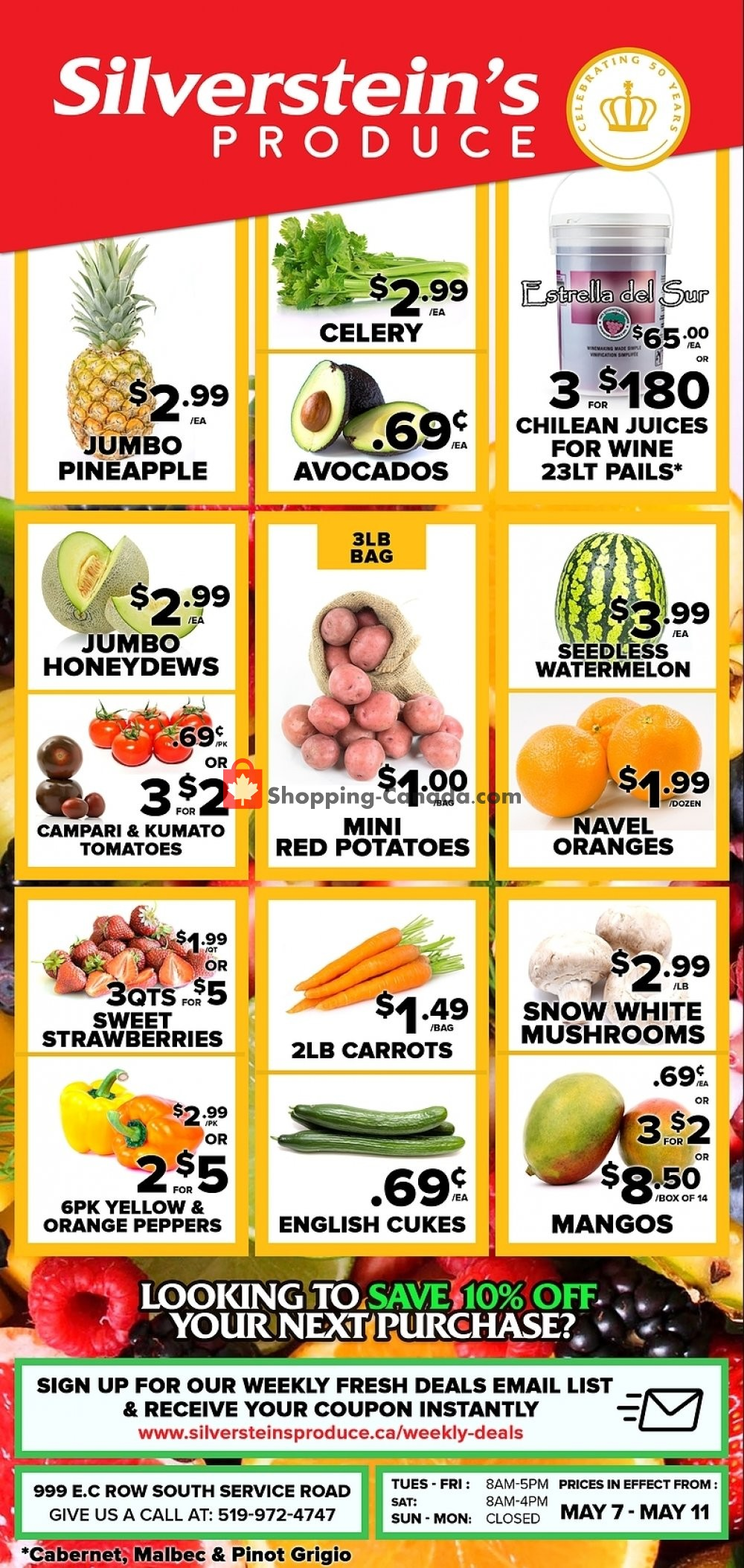 Flyer Silverstein's Produce Canada - from Tuesday May 7, 2019 to Saturday May 11, 2019