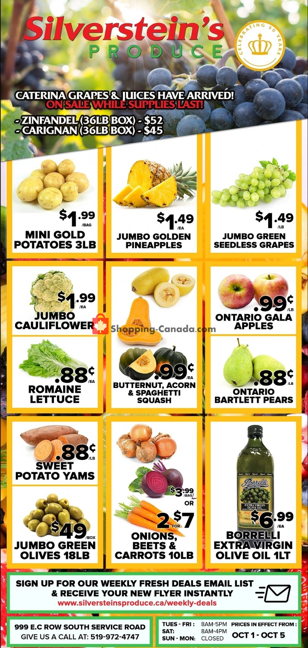 Flyer Silverstein's Produce Canada - from Tuesday October 1, 2019 to Saturday October 5, 2019
