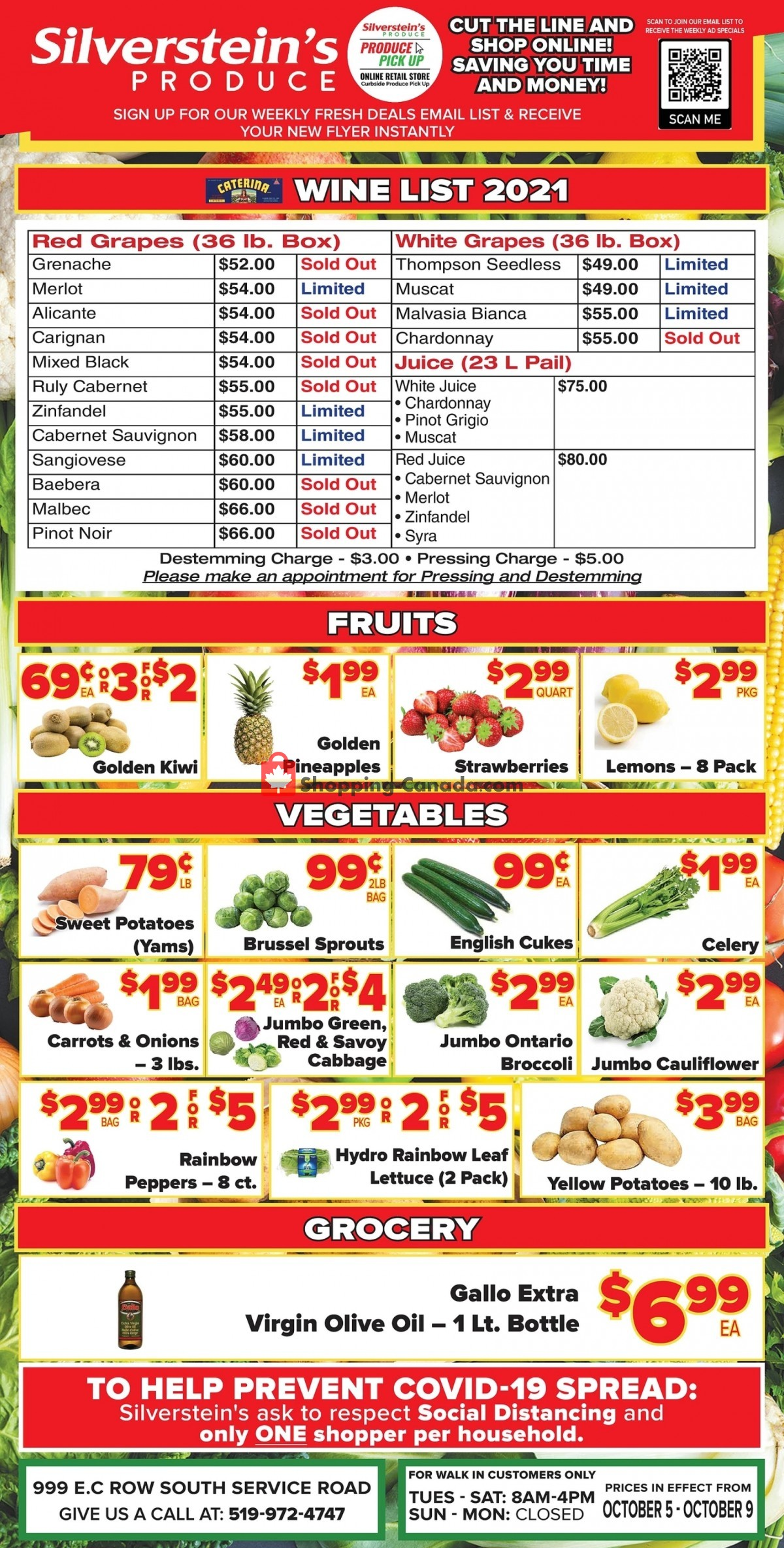 Flyer Silverstein's Produce Canada - from Tuesday October 5, 2021 to Saturday October 9, 2021