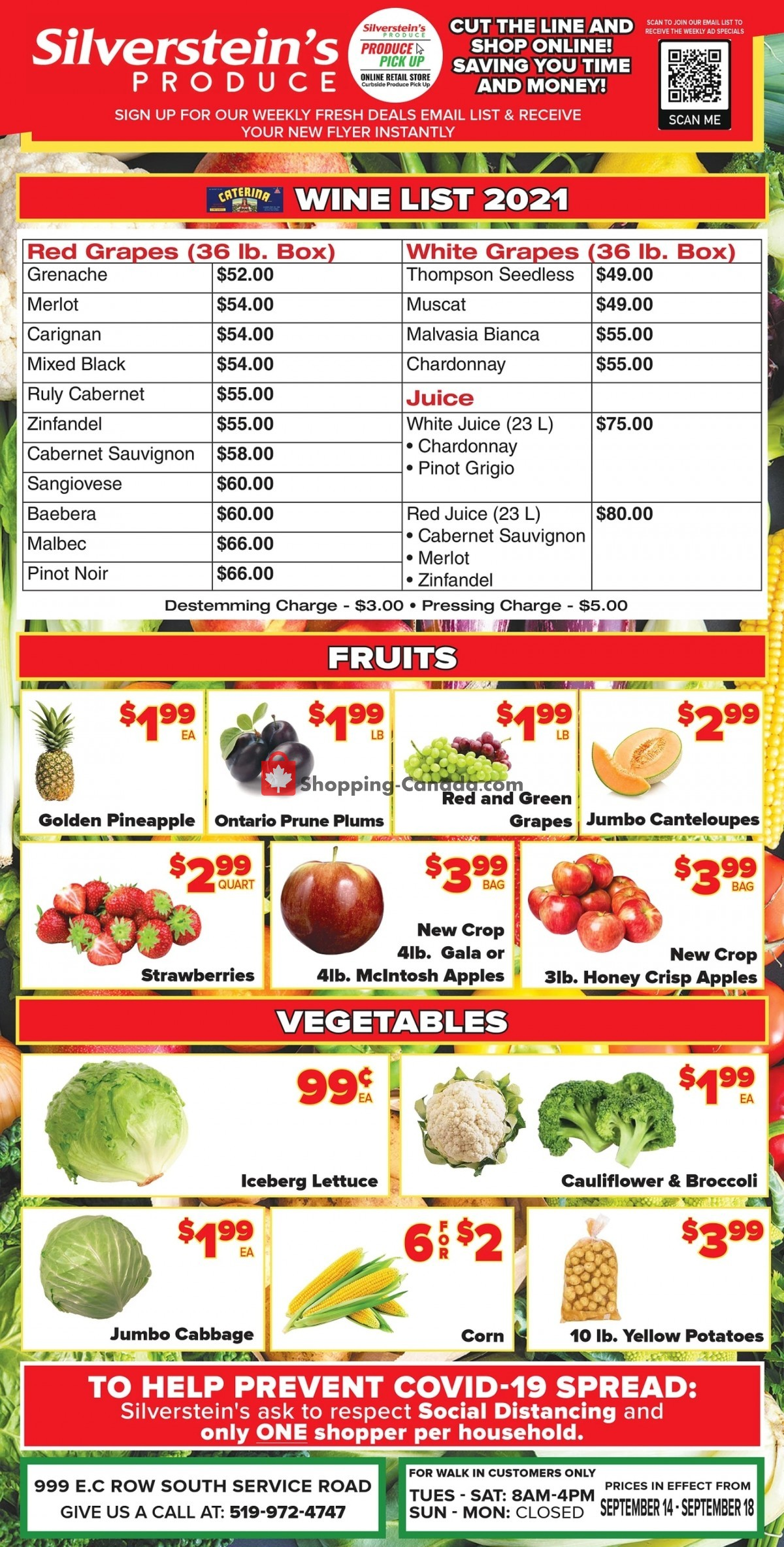 Flyer Silverstein's Produce Canada - from Tuesday September 14, 2021 to Saturday September 18, 2021
