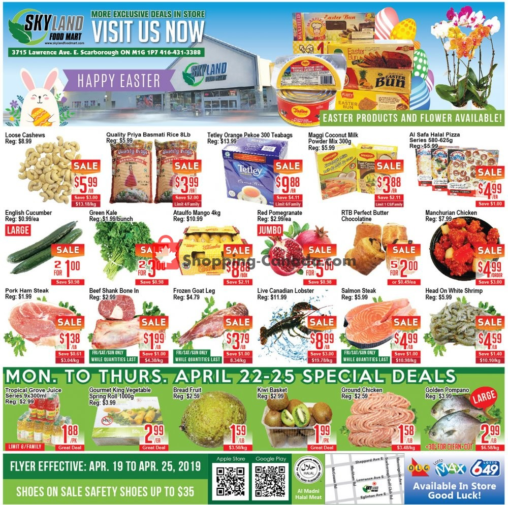 Flyer Skyland Food Mart Canada - from Friday April 19, 2019 to Thursday April 25, 2019
