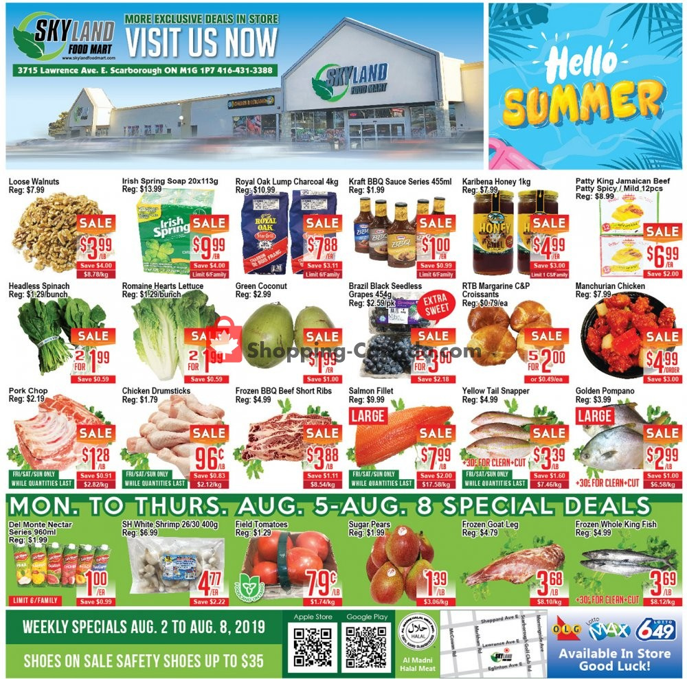 Flyer Skyland Food Mart Canada - from Friday August 2, 2019 to Thursday August 8, 2019