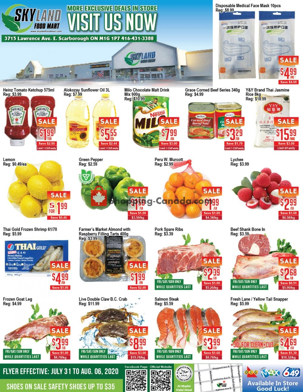Flyer Skyland Food Mart Canada - from Friday July 31, 2020 to Thursday August 6, 2020