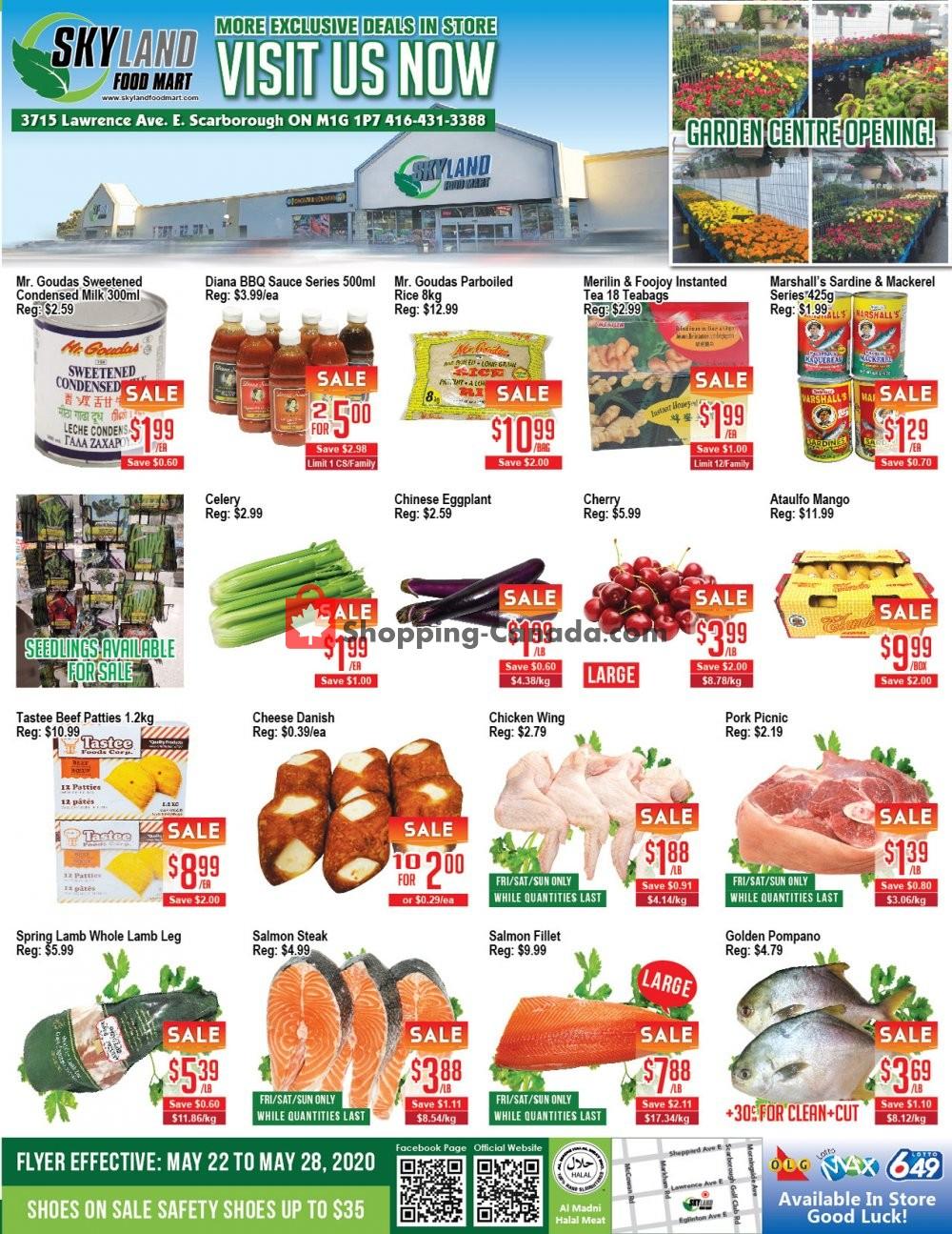 Flyer Skyland Food Mart Canada - from Friday May 22, 2020 to Thursday May 28, 2020
