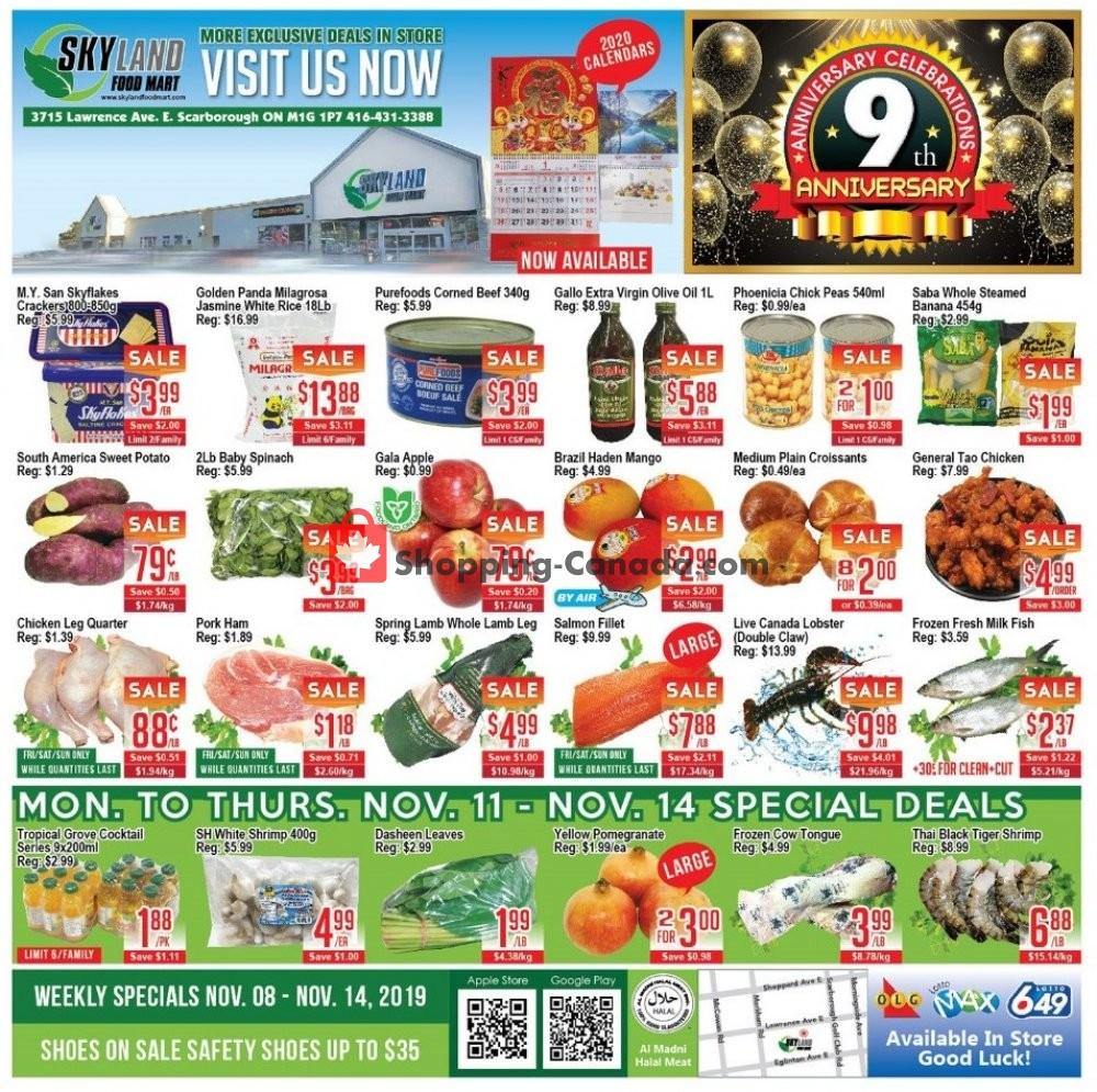 Flyer Skyland Food Mart Canada - from Friday November 8, 2019 to Thursday November 14, 2019