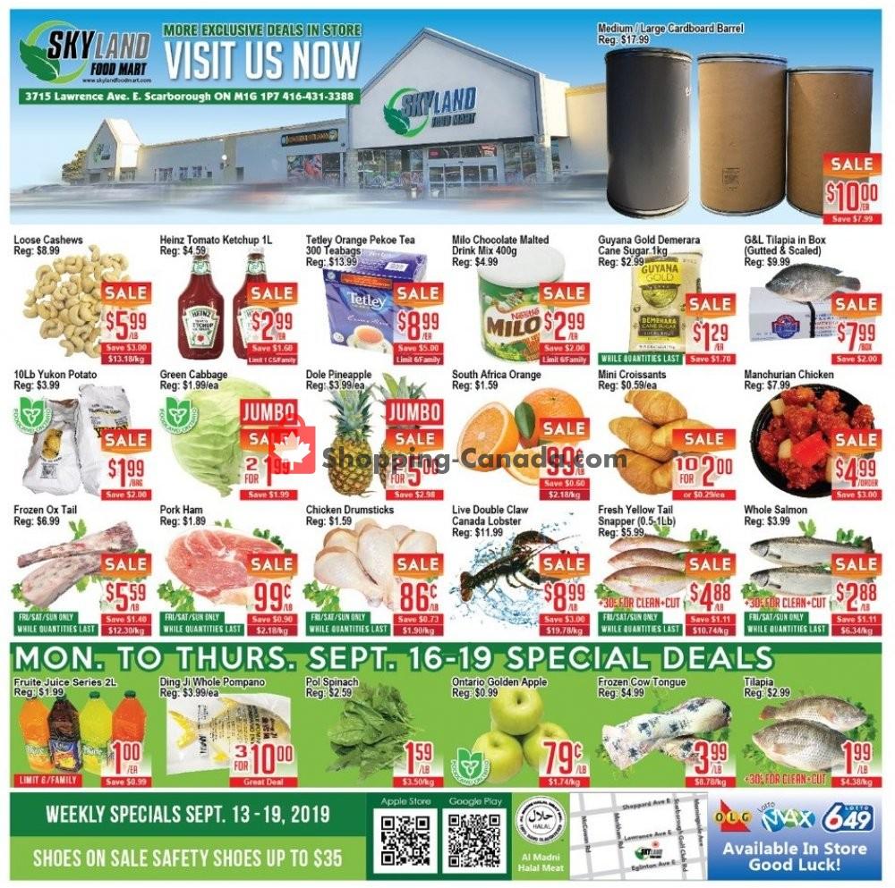 Flyer Skyland Food Mart Canada - from Friday September 13, 2019 to Thursday September 19, 2019