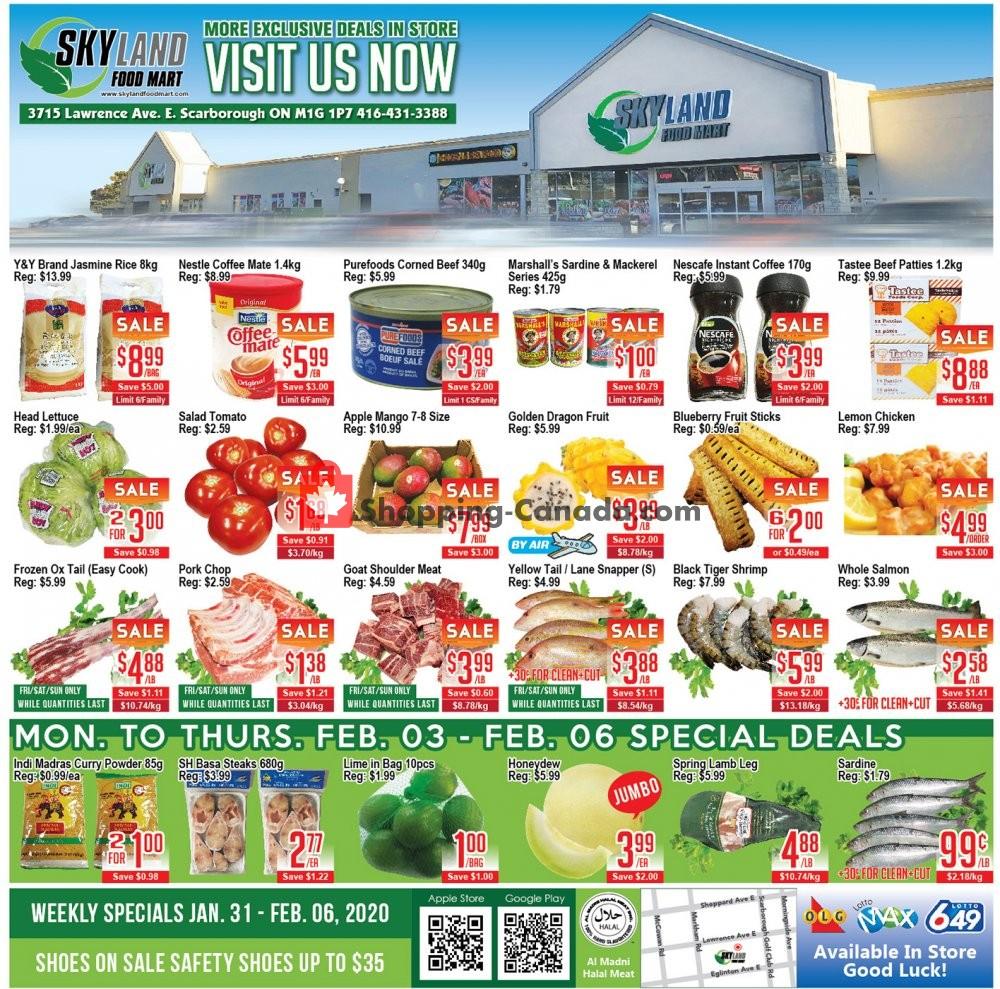 Flyer Skyland Food Mart Canada - from Friday January 31, 2020 to Thursday February 6, 2020