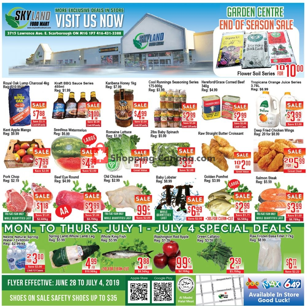 Flyer Skyland Food Mart Canada - from Friday June 28, 2019 to Thursday July 4, 2019