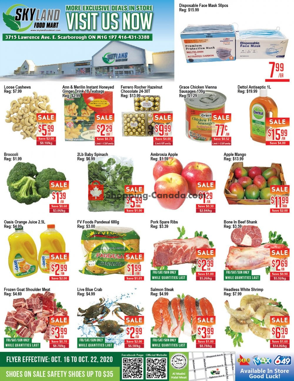 Flyer Skyland Food Mart Canada - from Friday October 16, 2020 to Thursday October 22, 2020