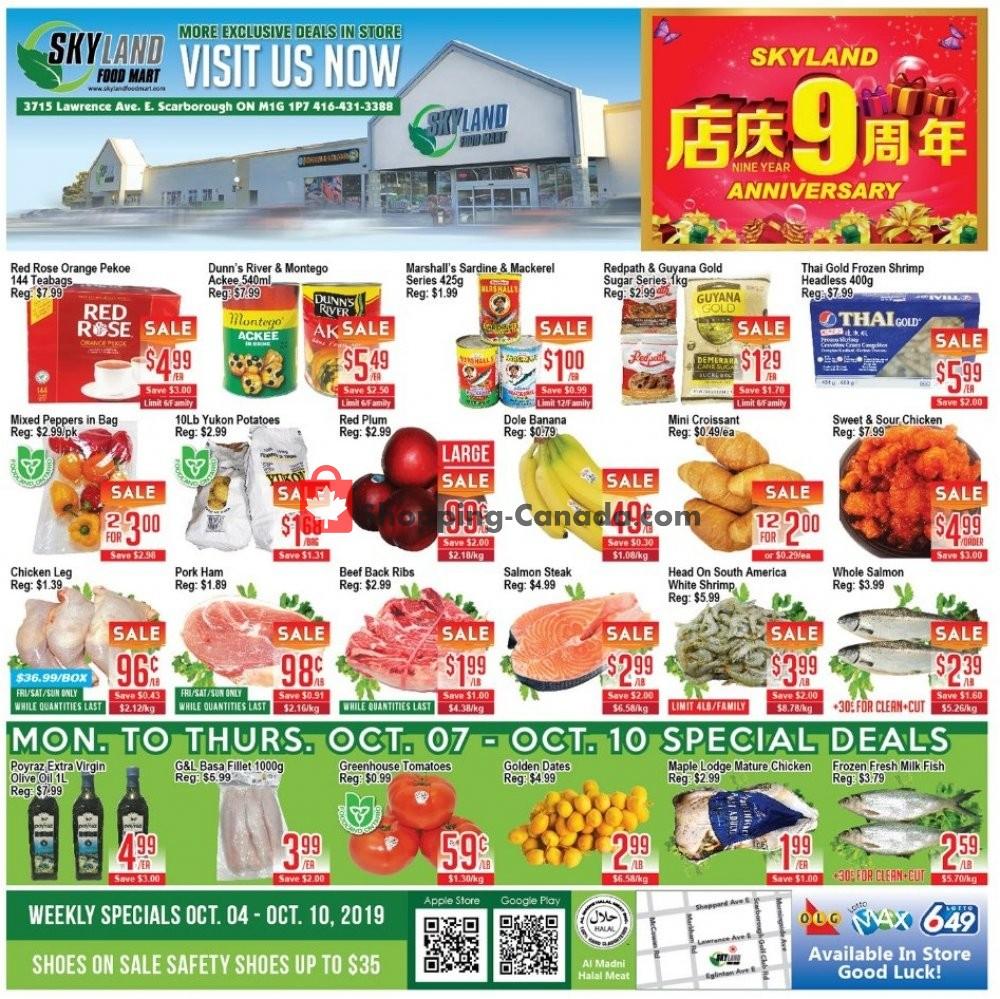 Flyer Skyland Food Mart Canada - from Friday October 4, 2019 to Thursday October 10, 2019