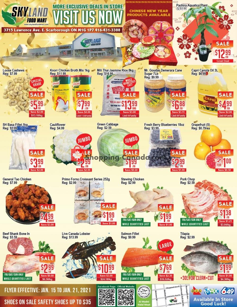 Flyer Skyland Food Mart Canada - from Friday January 15, 2021 to Thursday January 21, 2021