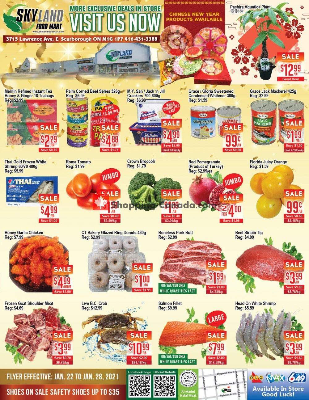 Flyer Skyland Food Mart Canada - from Friday January 22, 2021 to Thursday January 28, 2021