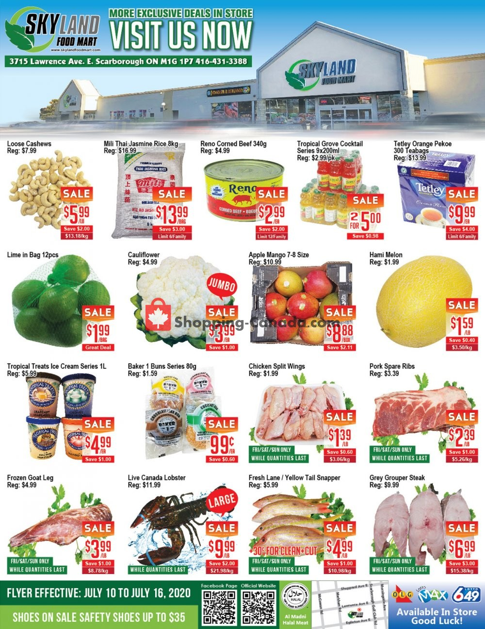 Flyer Skyland Food Mart Canada - from Friday July 10, 2020 to Thursday July 16, 2020