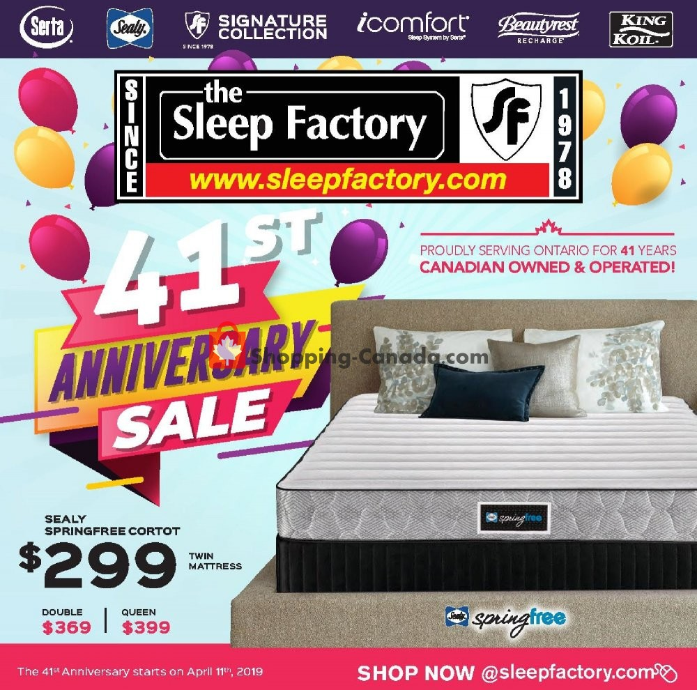 Flyer Sleep Factory Canada - from Thursday April 11, 2019 to Tuesday April 30, 2019