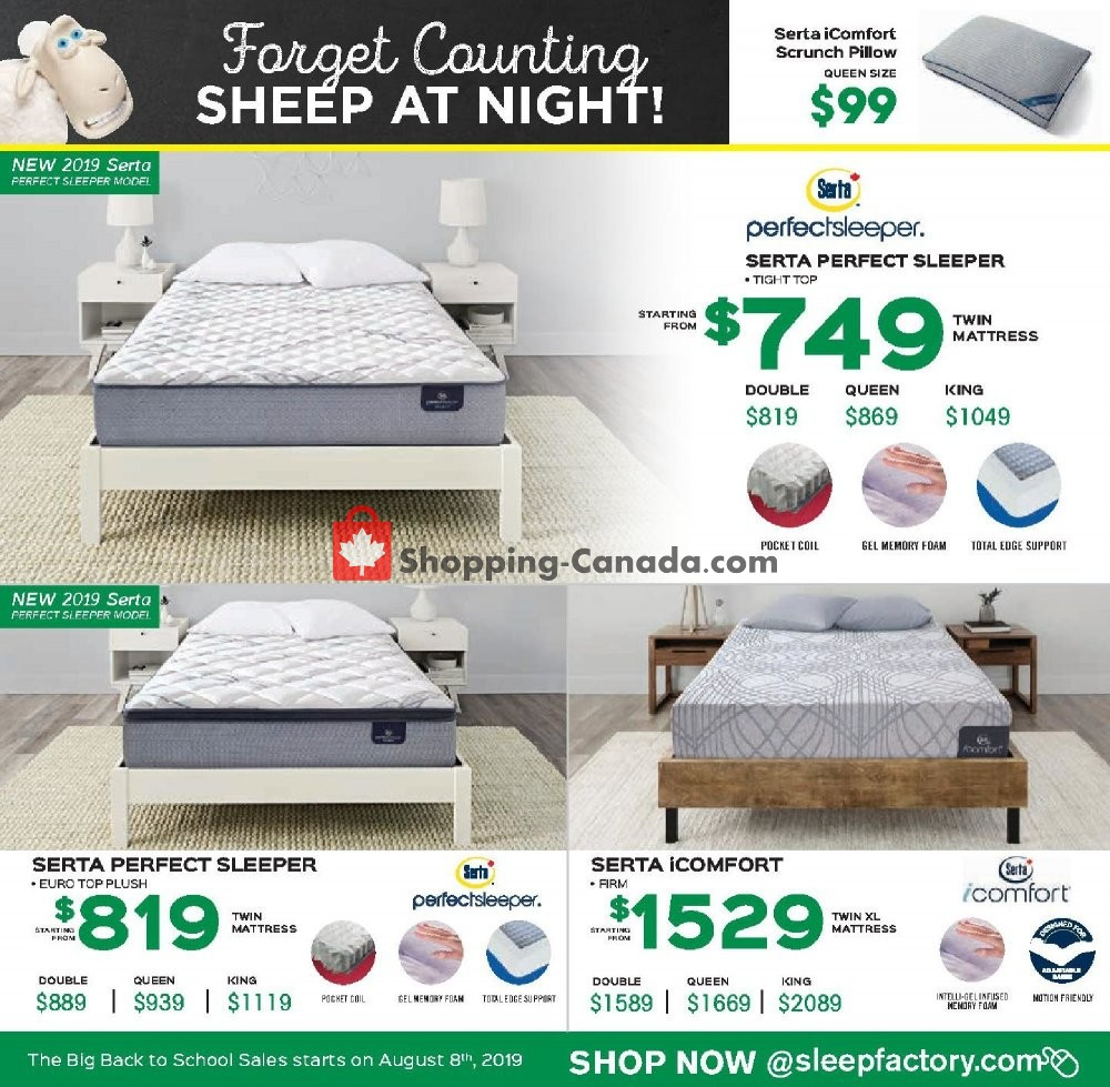 Flyer Sleep Factory Canada - from Thursday August 8, 2019 to Wednesday August 14, 2019