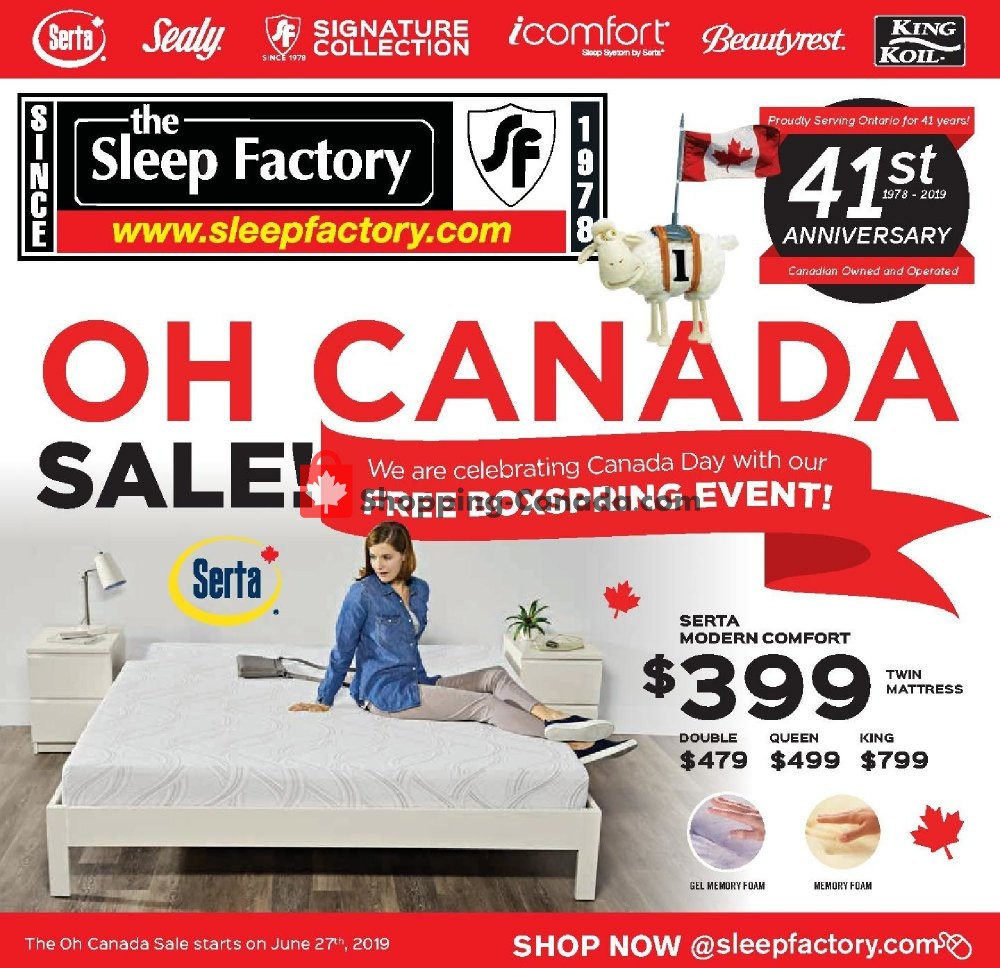Flyer Sleep Factory Canada - from Thursday June 27, 2019 to Wednesday July 3, 2019
