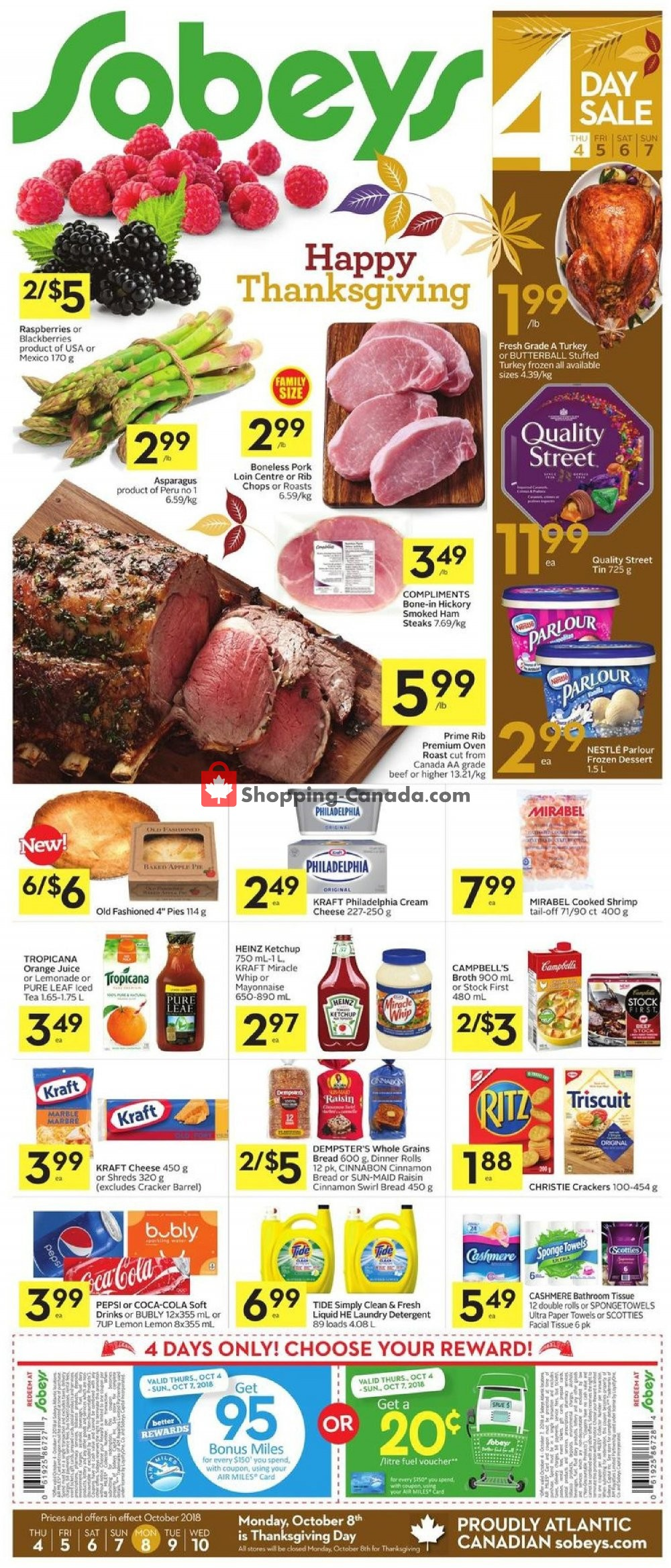 Flyer Sobeys Canada - from Thursday October 11, 2018 to Wednesday October 17, 2018