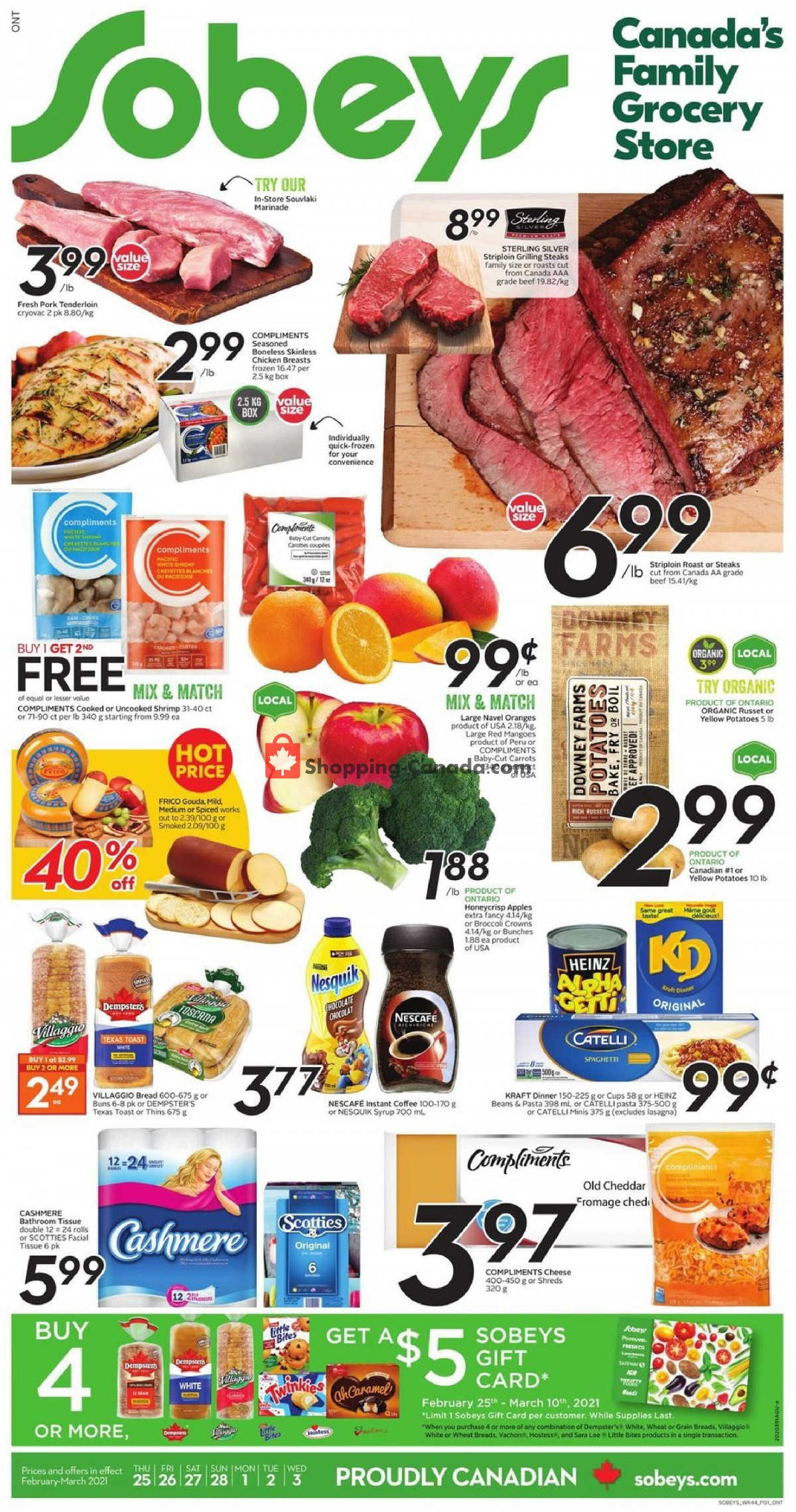 Flyer Sobeys Canada - from Thursday February 25, 2021 to Wednesday March 3, 2021