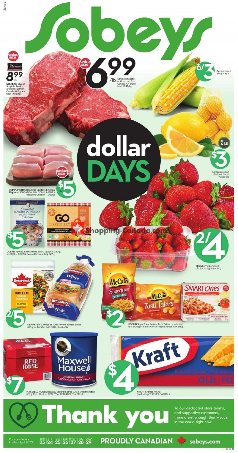 Flyer Sobeys Canada - from Thursday April 23, 2020 to Wednesday April 29, 2020