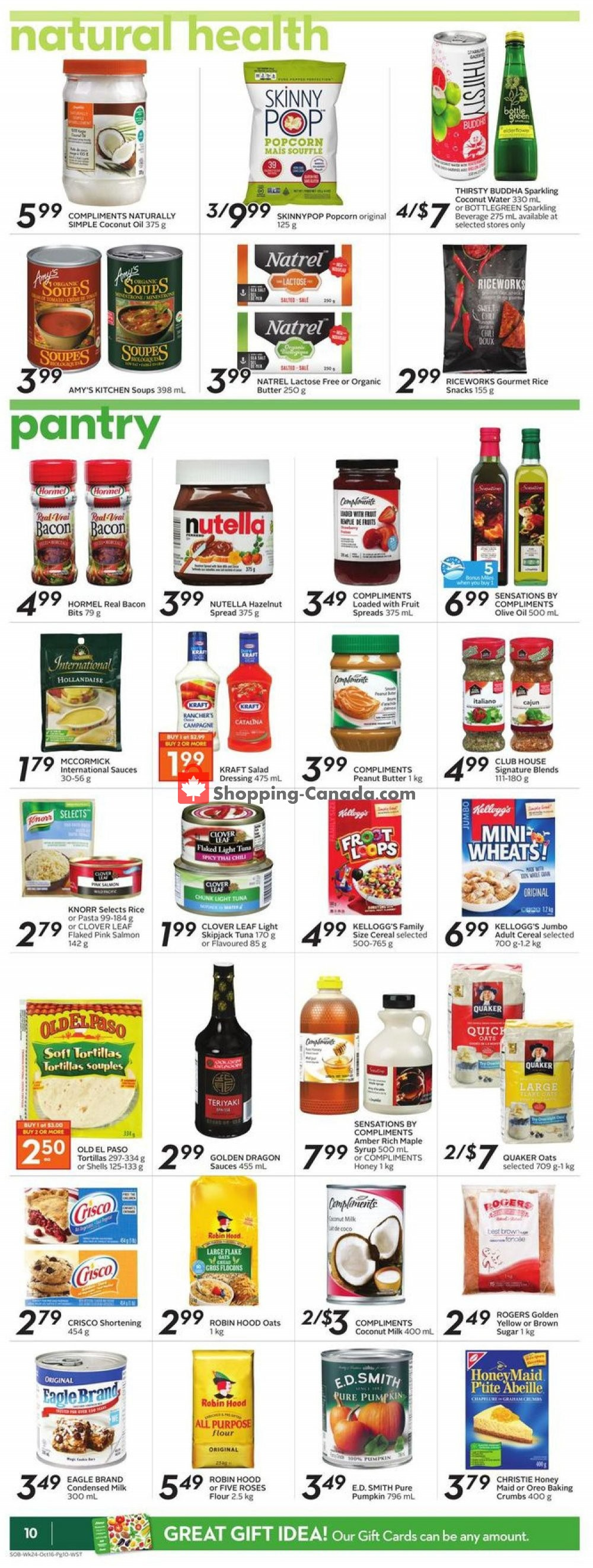 Flyer Sobeys Canada - from Thursday October 10, 2019 to Wednesday October 16, 2019